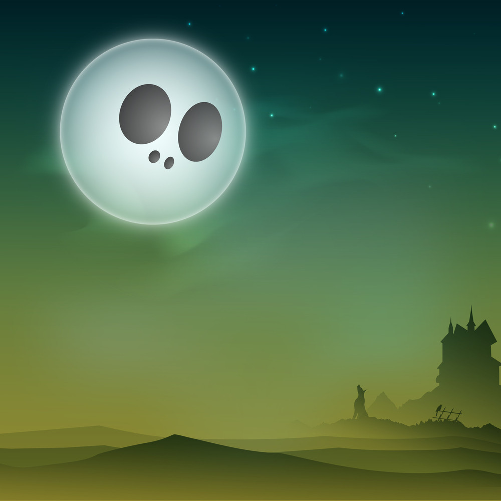 Banner Or Background For Halloween Party Night With Silhouette Of Haunted House And Wolf.
