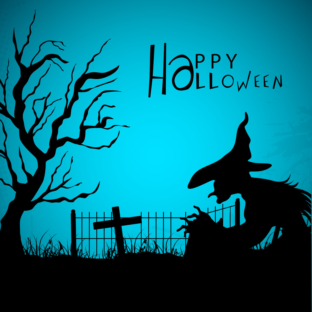 Banner Or Background For Halloween Party Night With Silhouette Of Witch And Dead Tree.
