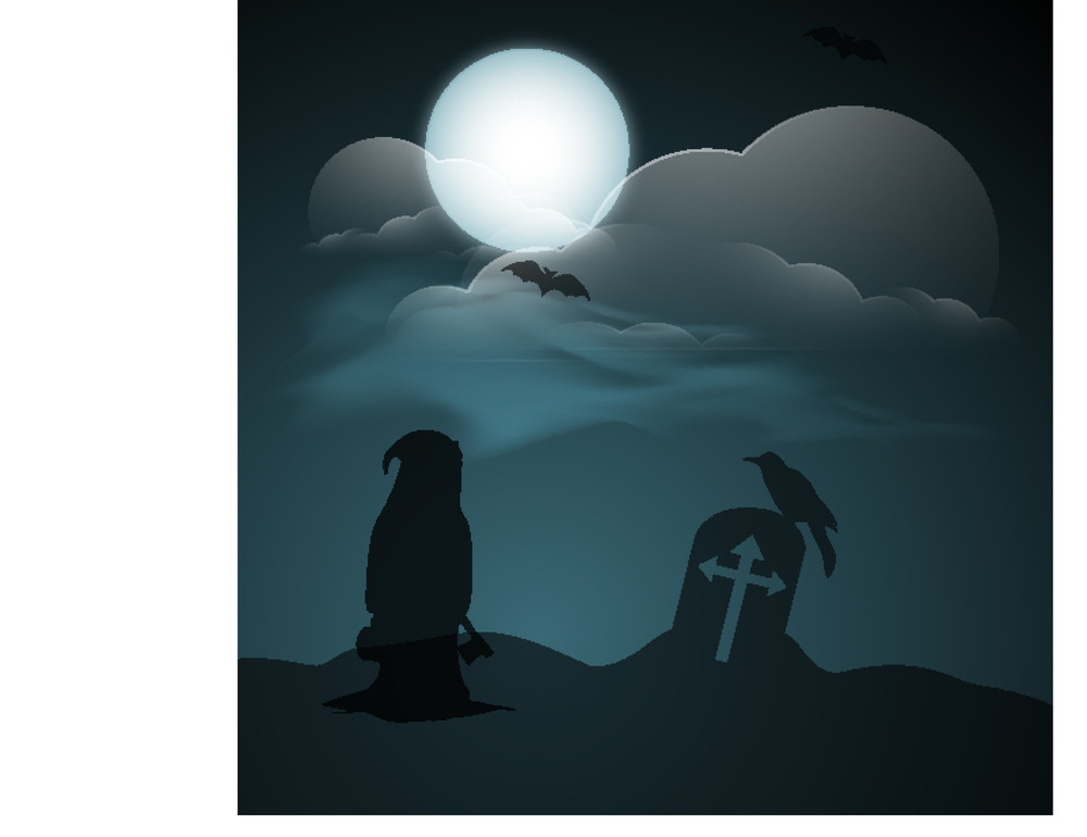 Banner Or Background For Halloween Party Night With Silhoustte Of Witch On Night Background.