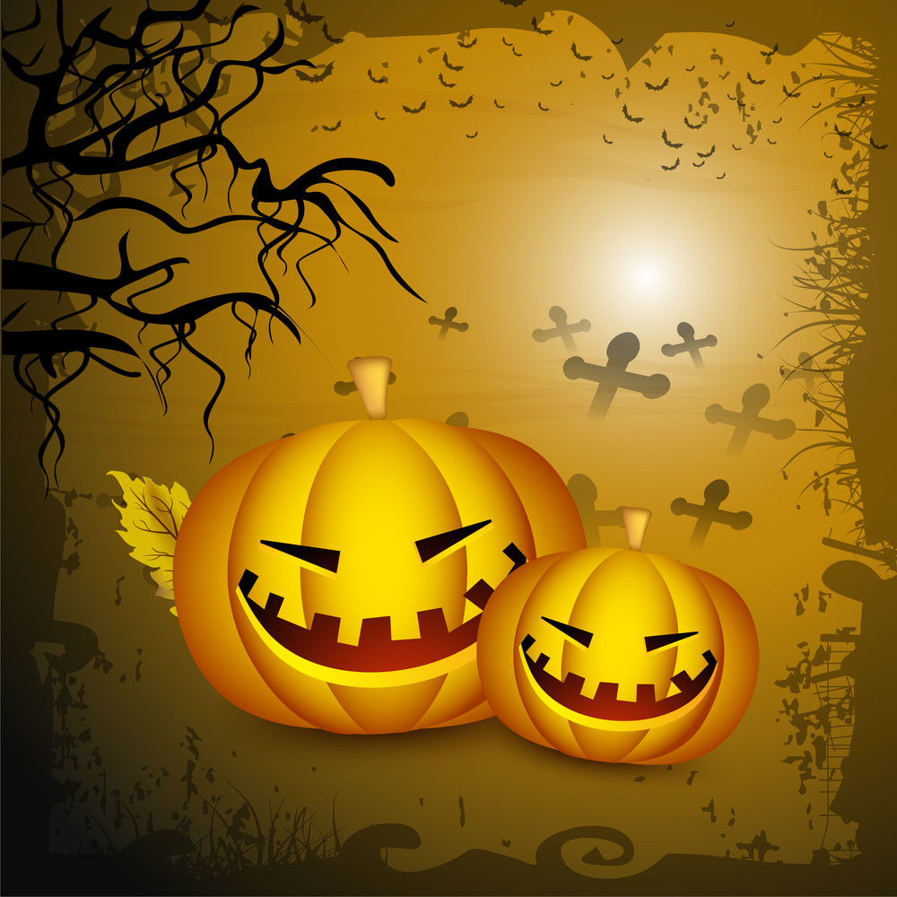 Banner Or Background For Halloween Party Night With Smily Pumpkin On Grungy Yellow Background.