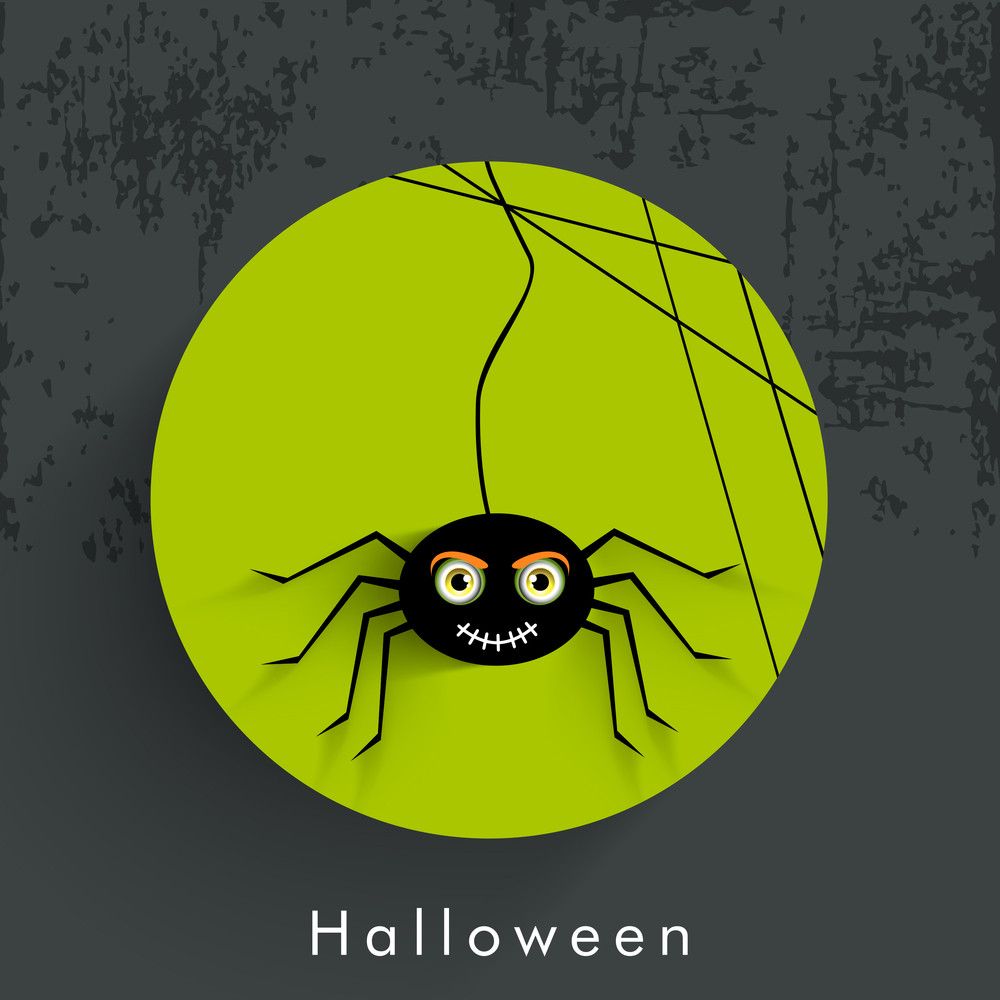 Banner Or Background For Halloween Party Night With Spidernet On Green And Grey Background.