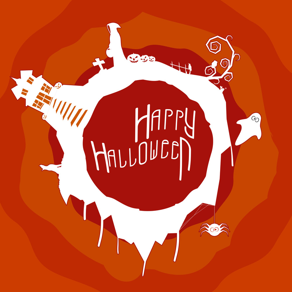 Banner Or Background For Halloween Party Night With Spooky Ornaments.