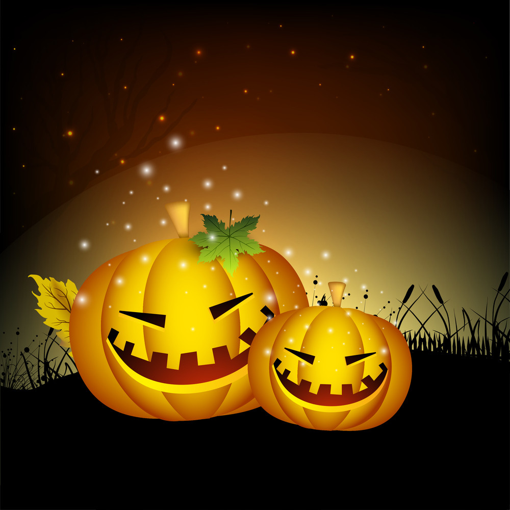 Banner Or Background For Halloween Party Night With Spooky Pumpkin On Night Background.