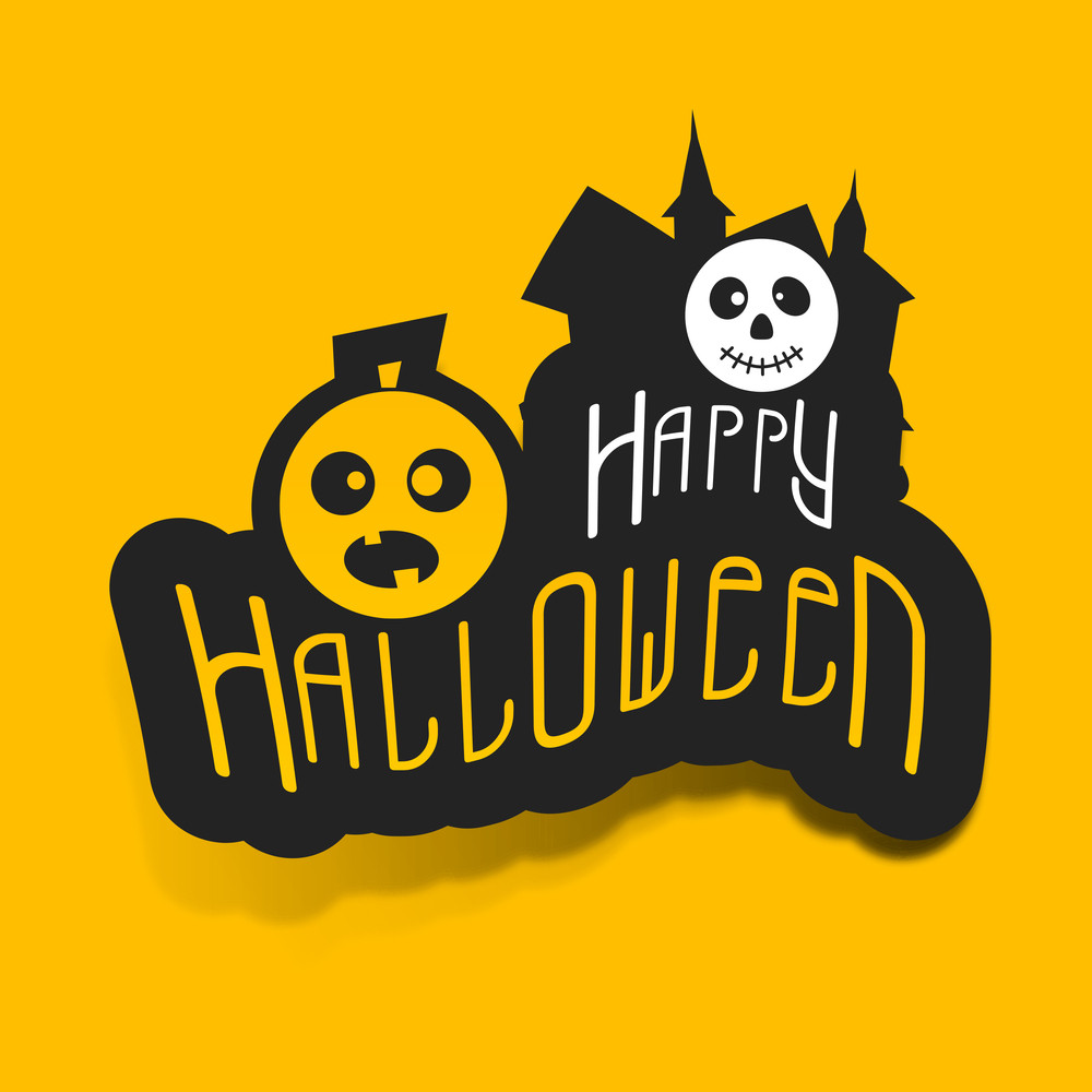 Banner Or Background For Halloween Party Night With Stylish Text On Yellow.