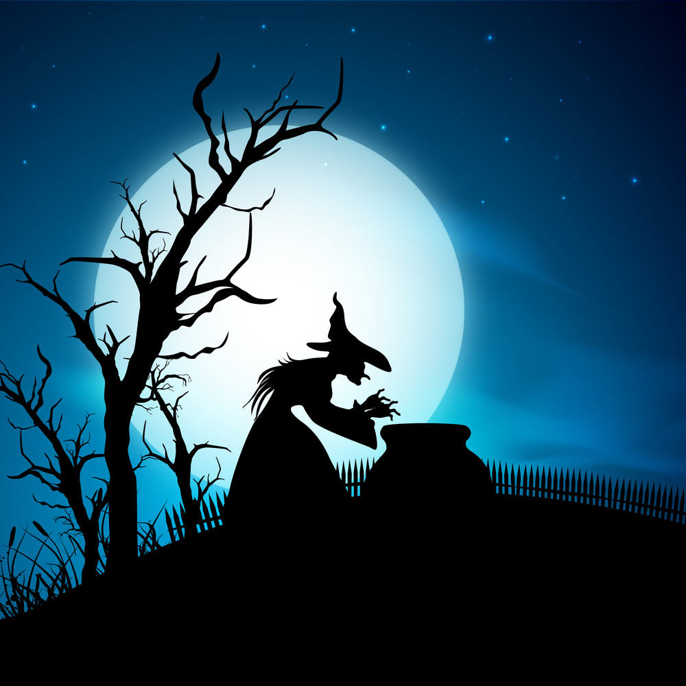 Banner Or Background For Halloween Party Night With Witch On Blue Background.