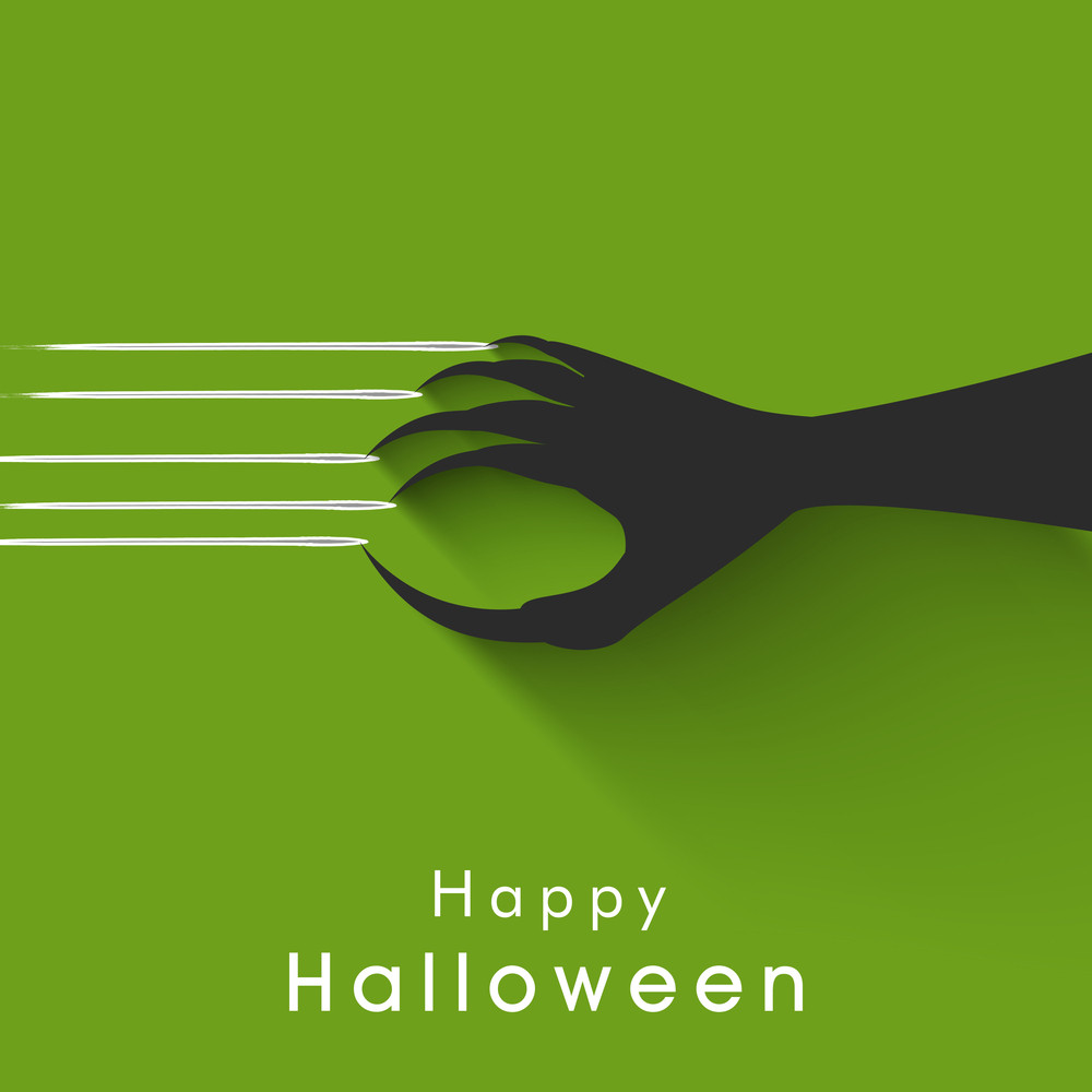 Banner Or Background For Halloween Party Night With Zombie Hand On Green.