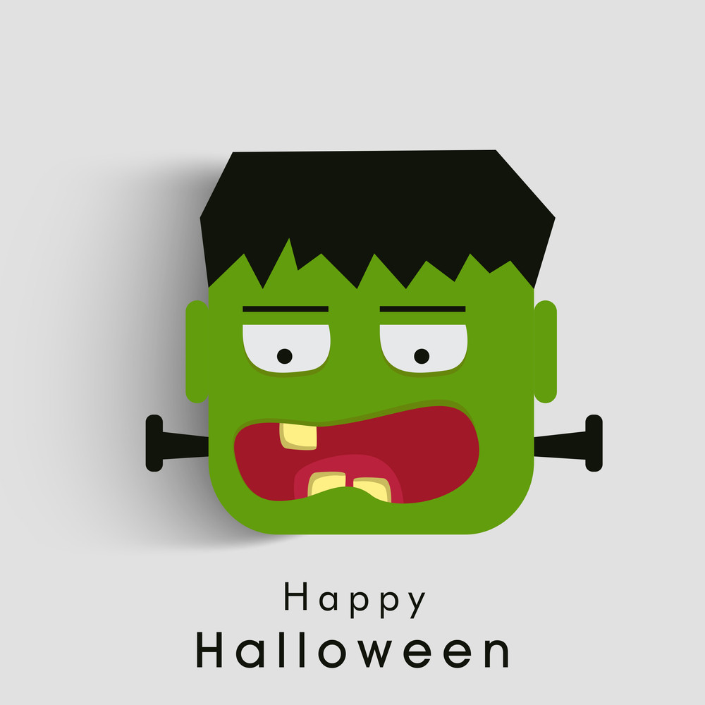Banner Or Background For Halloween Party Night With Zombie On Grey.
