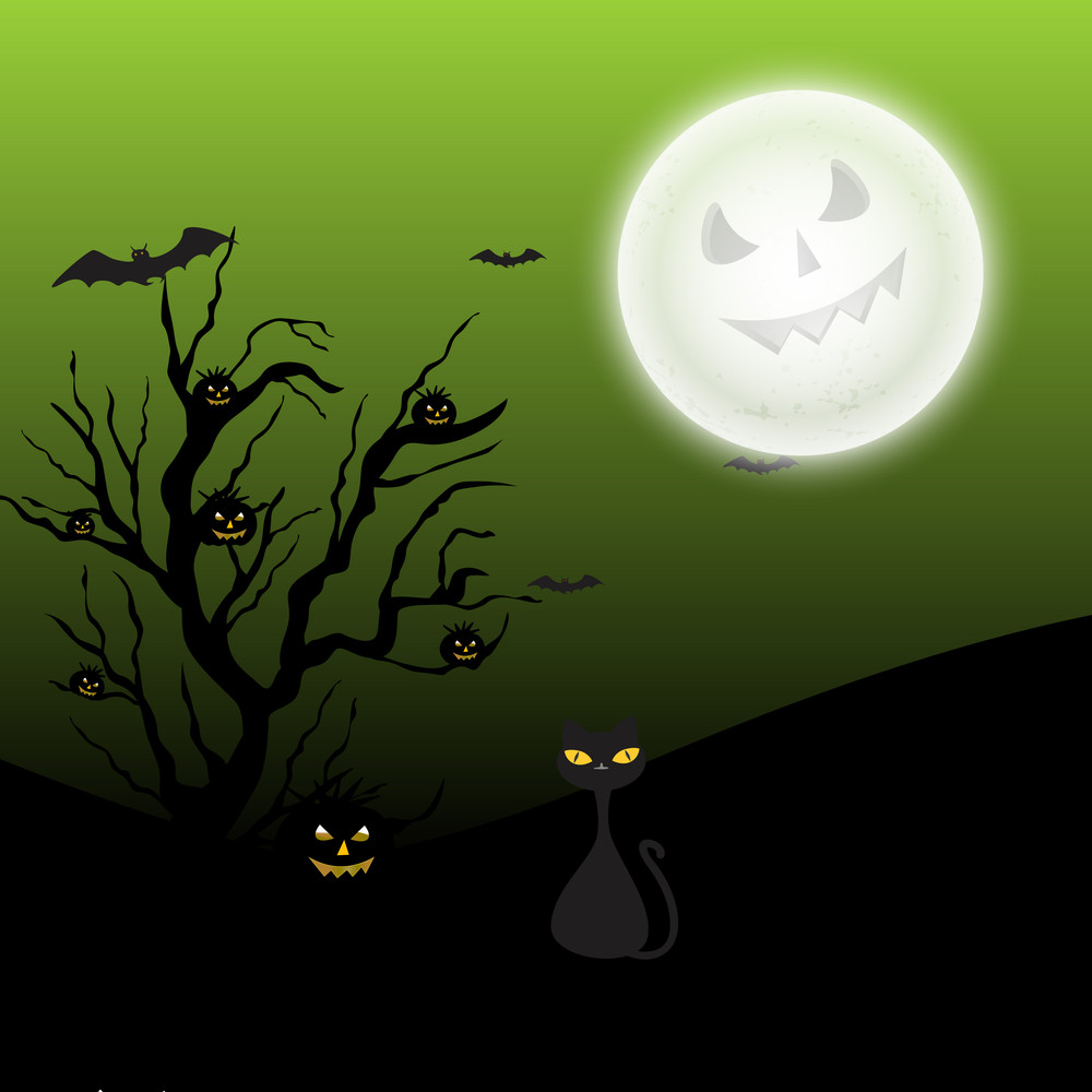 Banner Or Background For Halloween Party On Spooky Night Background.