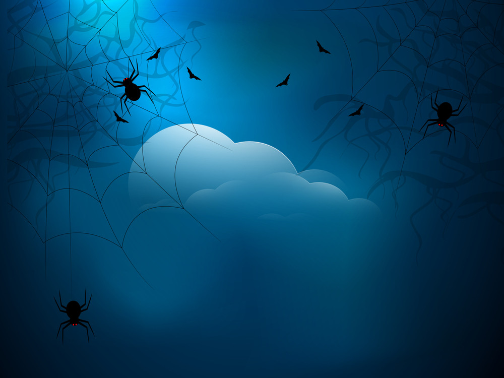 Banner Or Background For Halloween Party Spooky Blue Night.