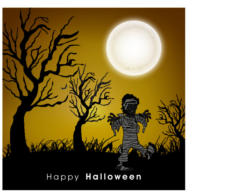 Banner Or Background For Halloween Party Spooky Night Background With Zombie.