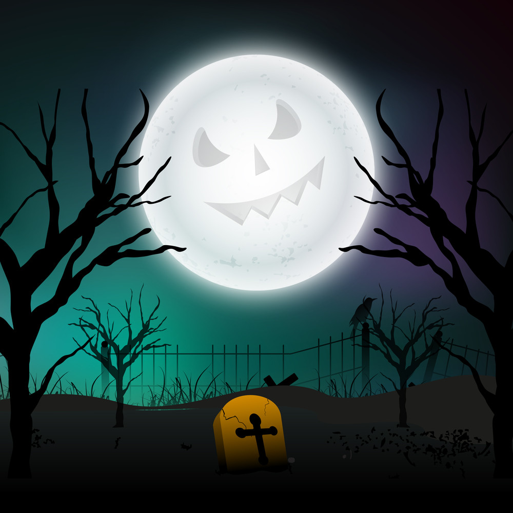 Banner Or Background For Halloween Party Spooky Night Background.