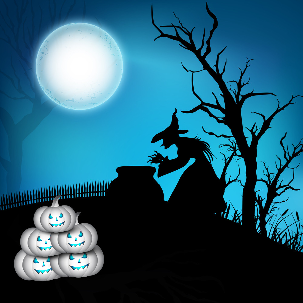 Banner Or Background For Halloween Party Spooky Night Concept With Silhouette Of A Witch