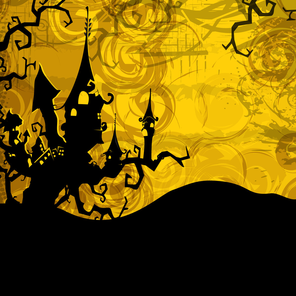 Banner Or Background For Halloween Party Spooky Night On Yellow Background.