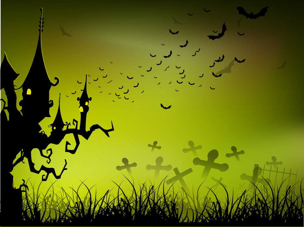Banner Or Background For Halloween Party Spooky Night With Haunted House On Green Background.