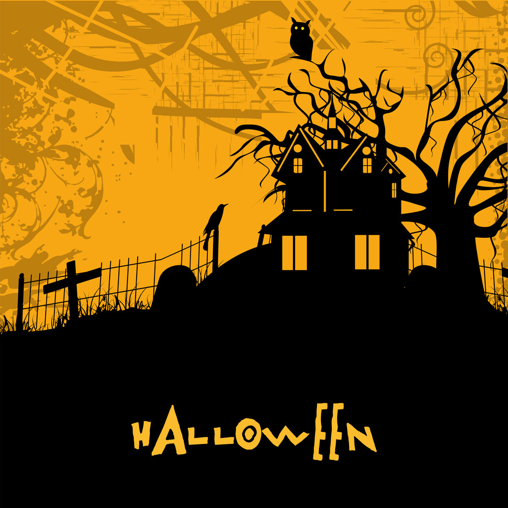 Banner Or Background For Halloween Party Spooky Night With Haunted House.