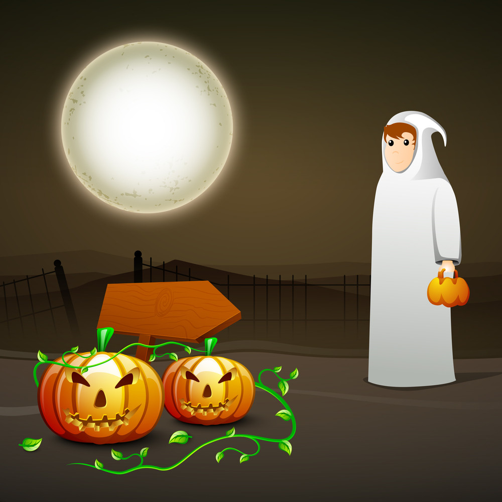 Banner Or Background For Halloween Party Spooky Night With Illustration Of A Ghost And Pumpkins On Brown Background.