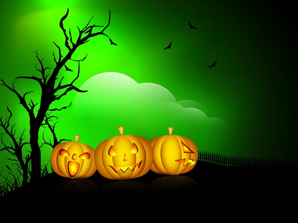 Banner Or Background For Halloween Party Spooky Night With Pumpkins.