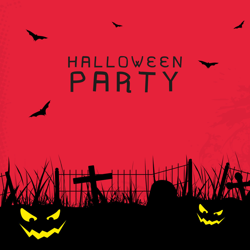 Banner Or Background For Halloween Party Spooky Night With Scary Pumpkins.