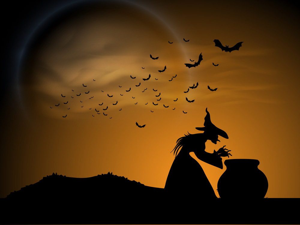 Banner Or Background For Halloween Party Spooky Night With Silhouette Of A Witch.