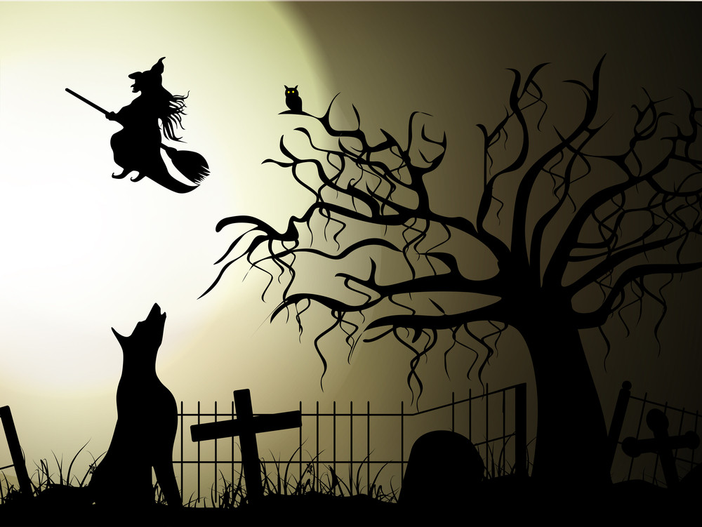 Banner Or Background For Halloween Party Spooky Night With Witch