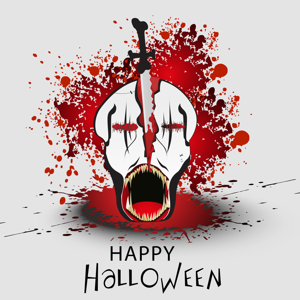 Banner Or Background For Halloween Party With Human Skull On Red Bloods Concept.