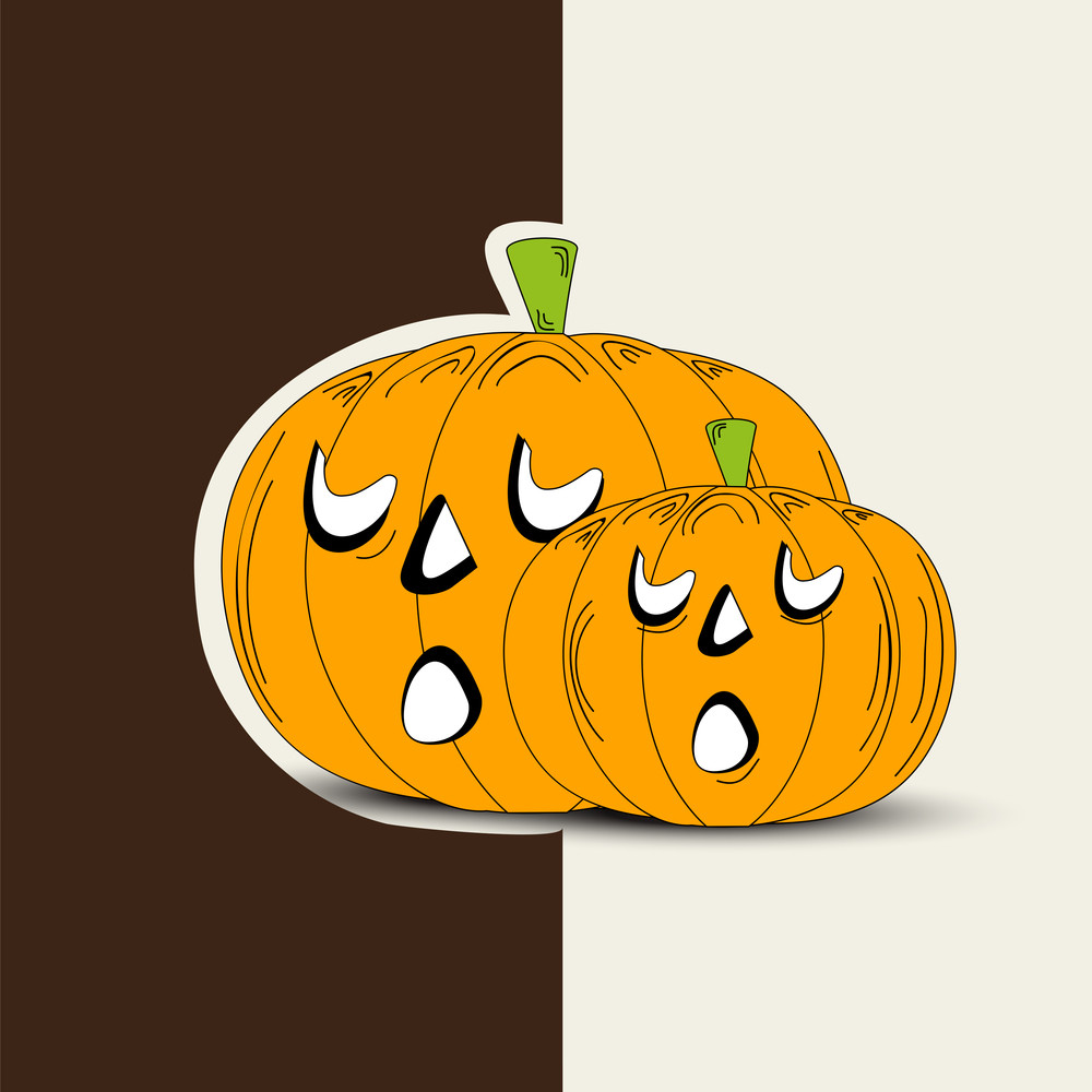 Banner Or Background For Halloween Party With Pumpkins On Brown And Grey Background.