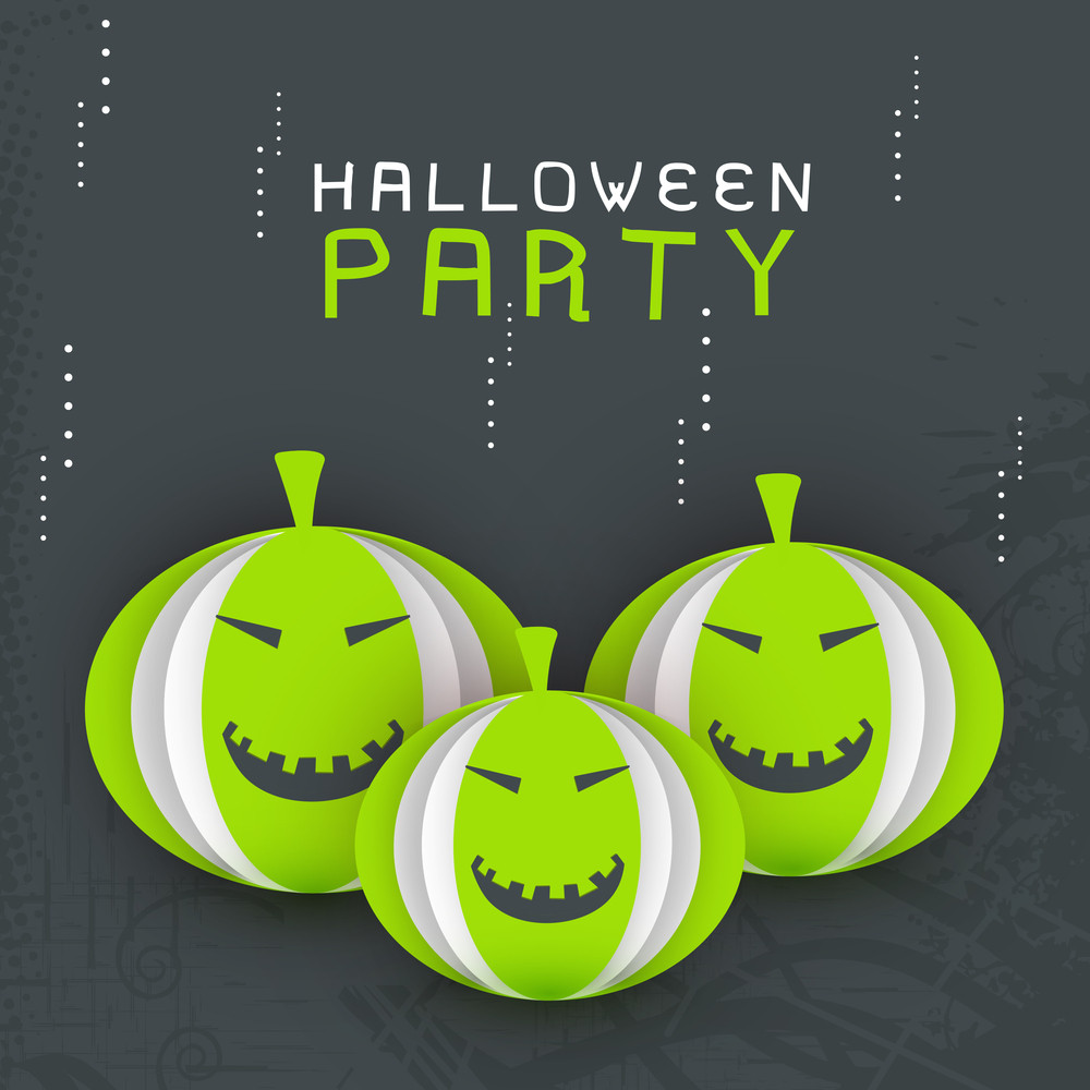 Banner Or Background For Halloween Party With Pumpkins On Grey Background.
