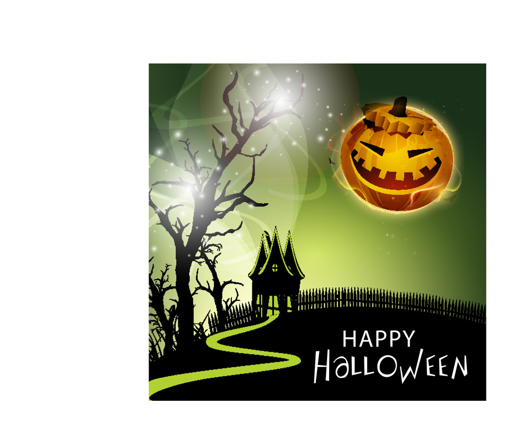 Banner Or Background For Halloween Party With Sacry Pumpkin
