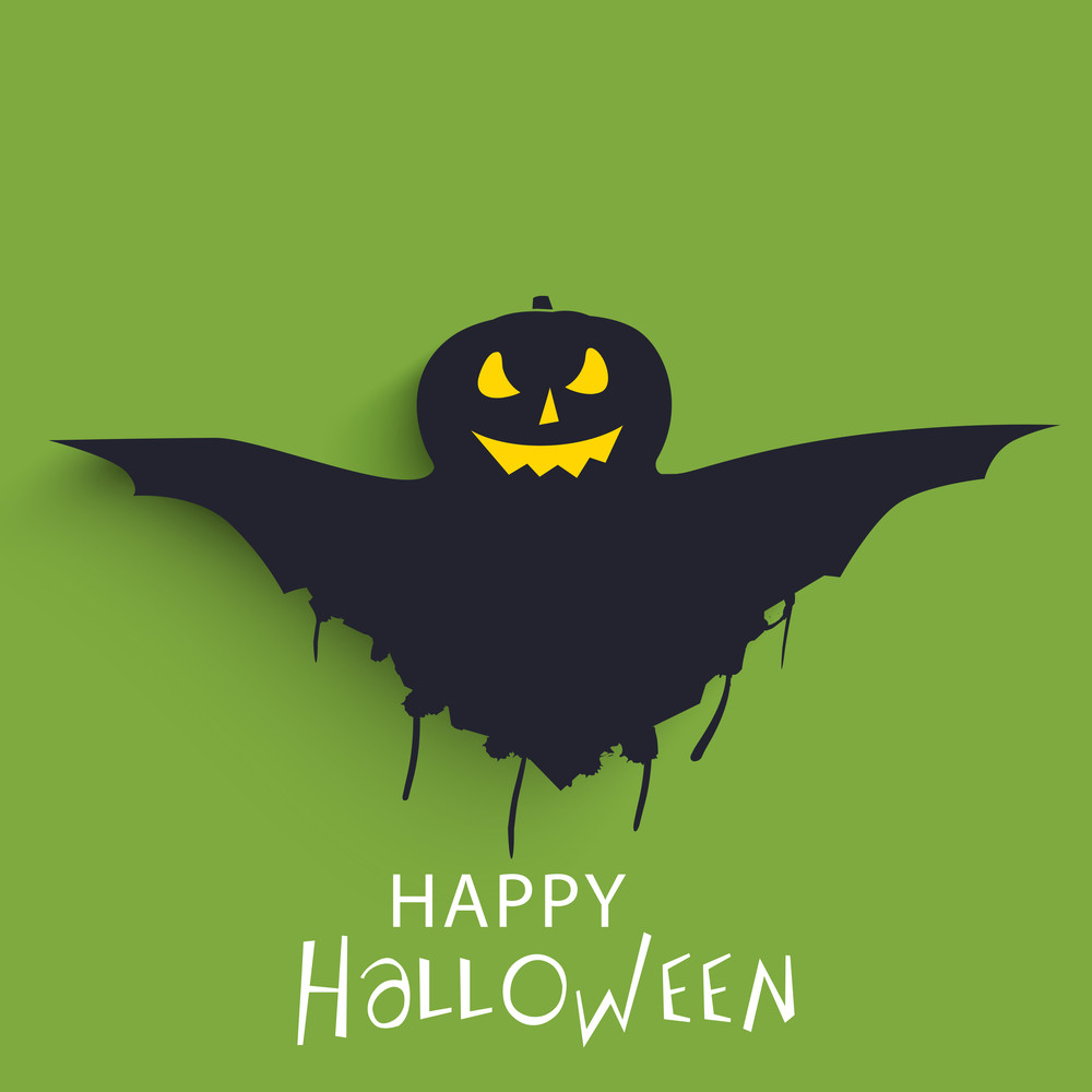 Banner Or Background For Halloween Party With Scary Pumpkin On Green.