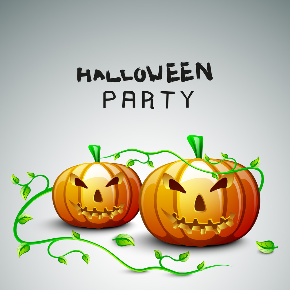 Banner Or Background For Halloween Party With Scary Pumpkins And Green Leaves.