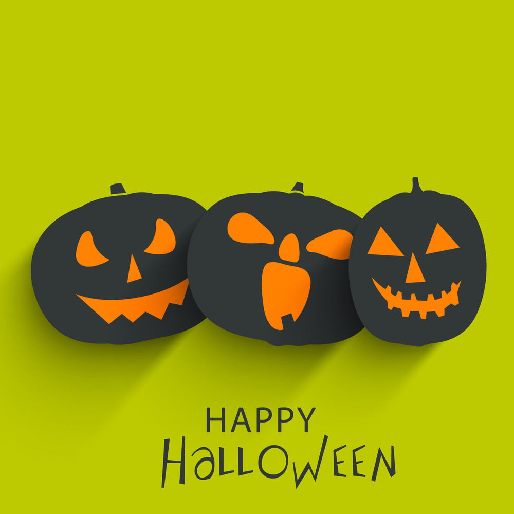 Banner Or Background For Halloween Party With Scary Pumpkins On Green.