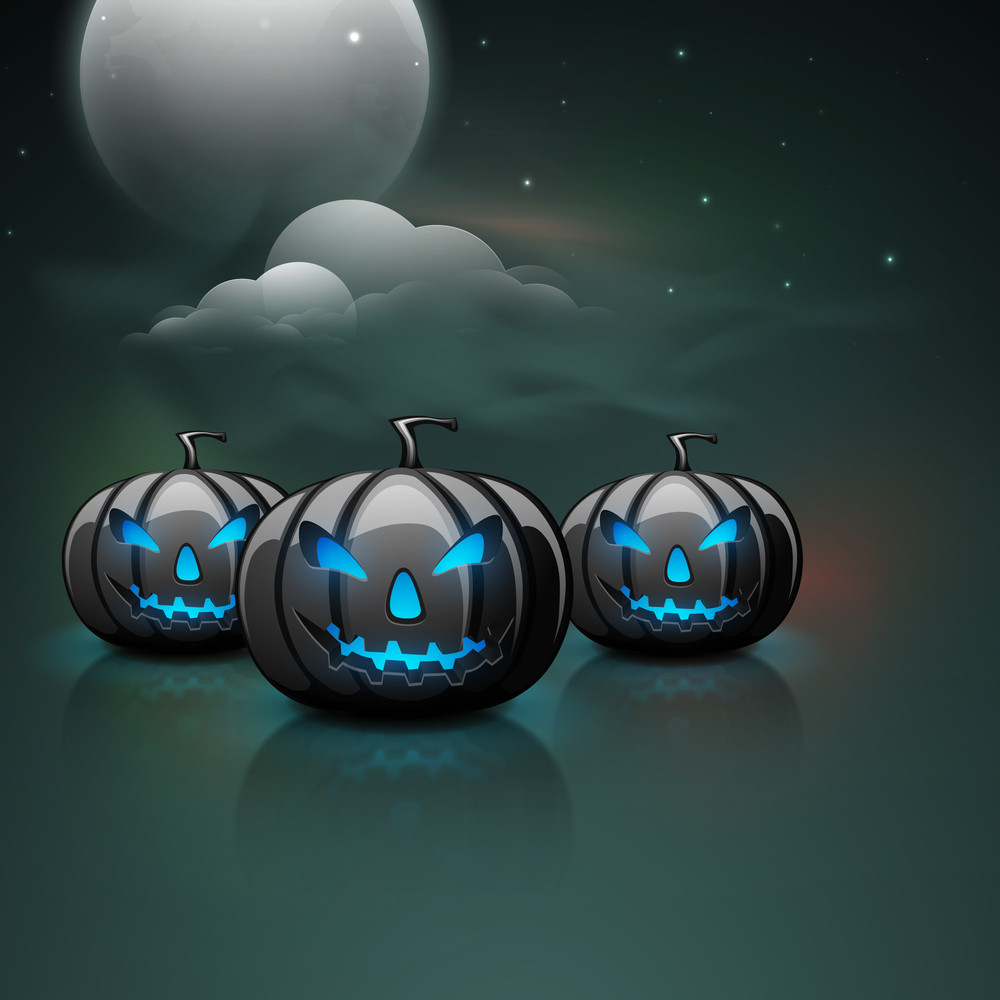 Banner Or Background For Halloween Party  With Scary Pumpkins On Night Background.