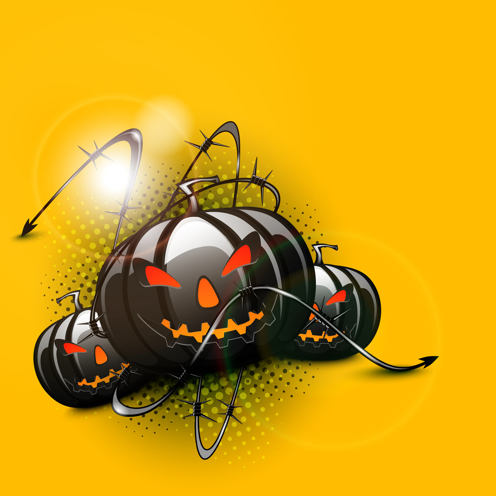 Banner Or Background For Halloween Party With Scary Pumpkins On Yellow Background.