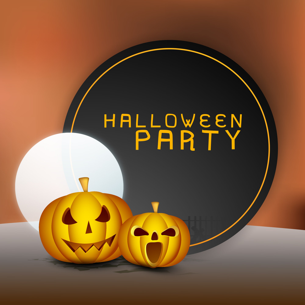 Banner Or Background For Halloween Party With Scary Pumpkins.