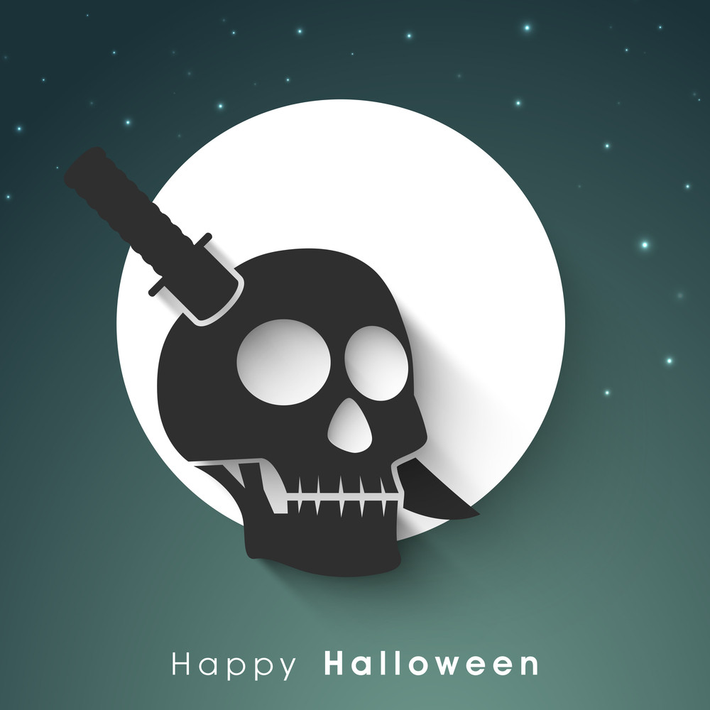 Banner Or Background For Halloween Party With Skull And Knife On Green.
