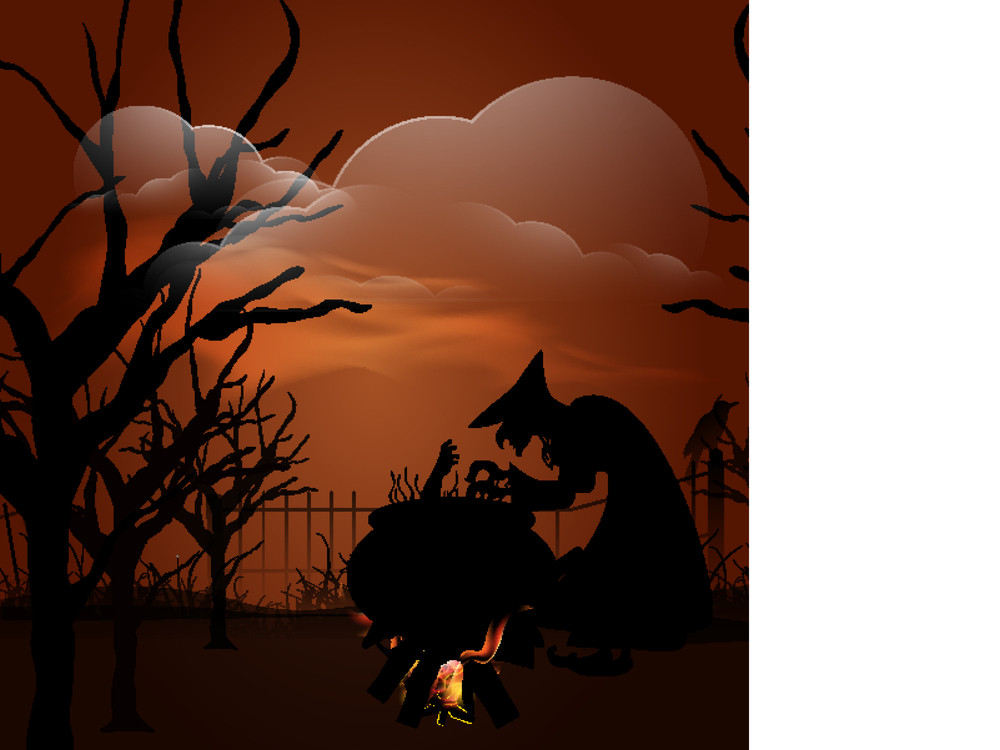 Banner Or Background For Halloween Party With Witch Cooking A Man In Traditional Pot.