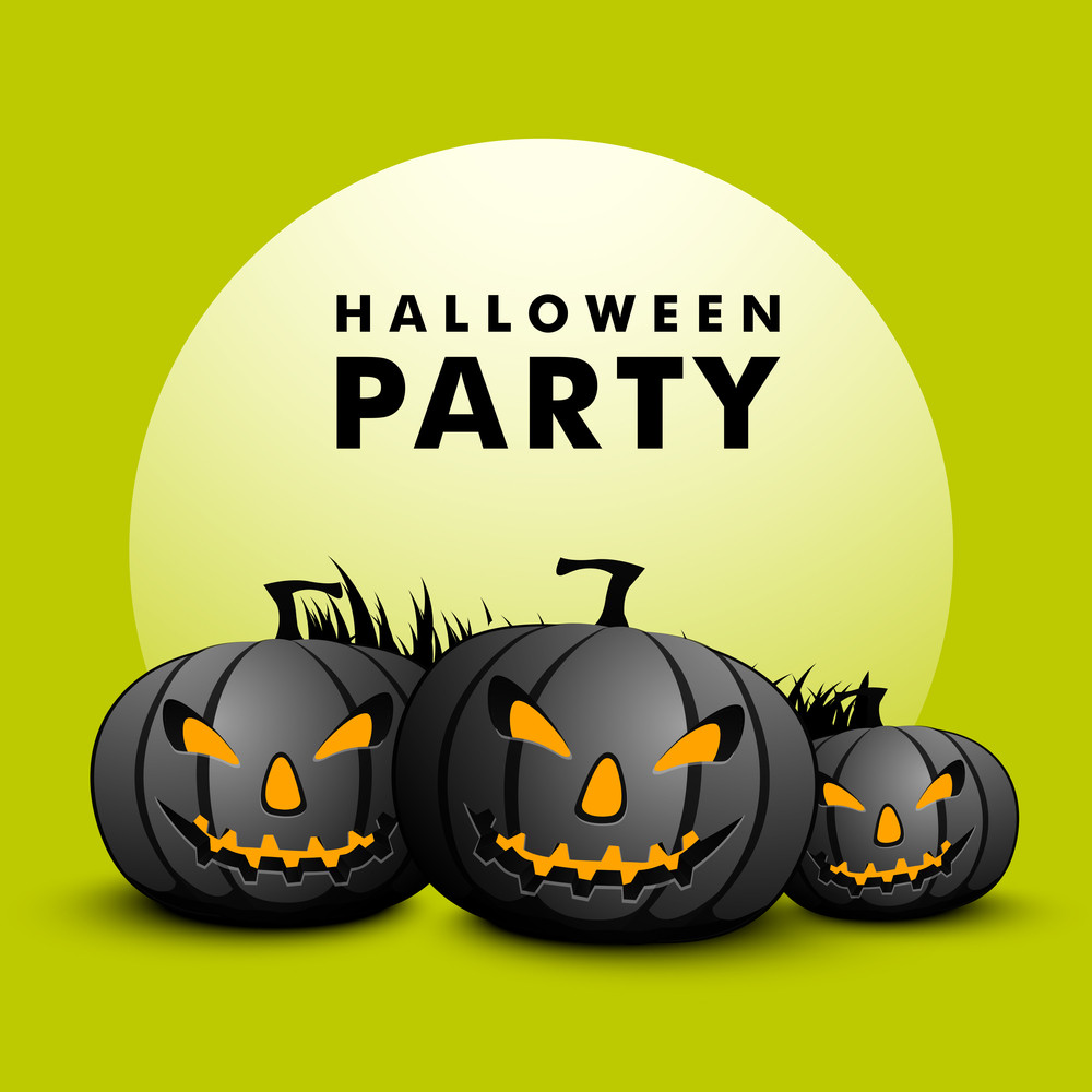 Banner Or Flyer With Angry Pumpkins On Green Background.