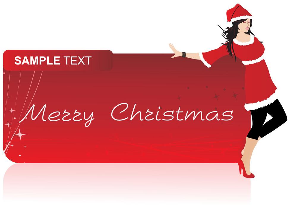 Banner With Beautifull Girl In Santa Dress
