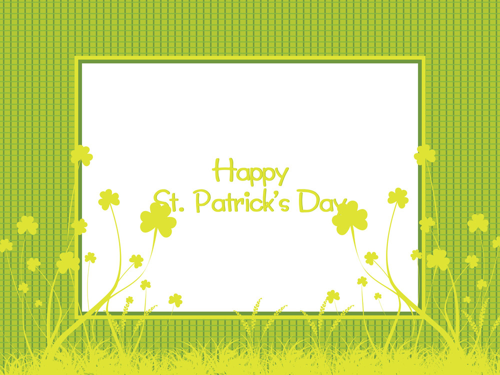 Banner With Four Leafs Clover Background