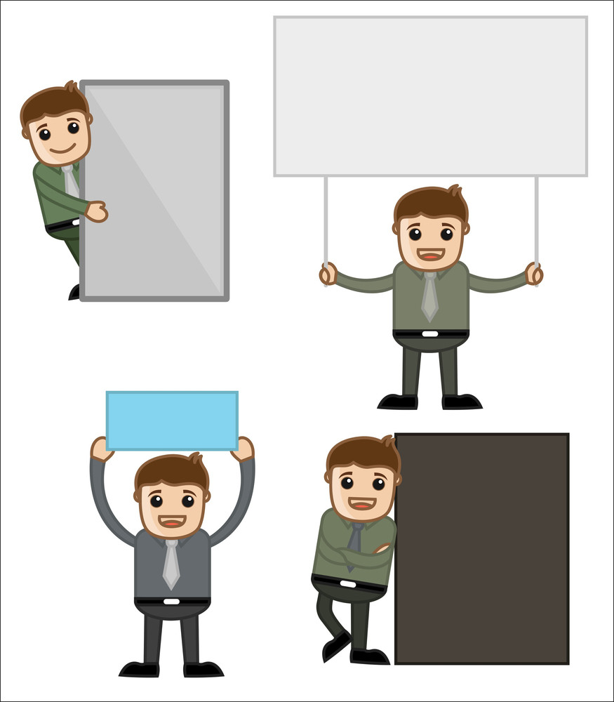 Banners - Office And Business People Cartoon Character Vector Illustration Concept