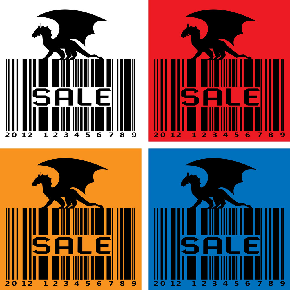 Barcode With Black Dragon