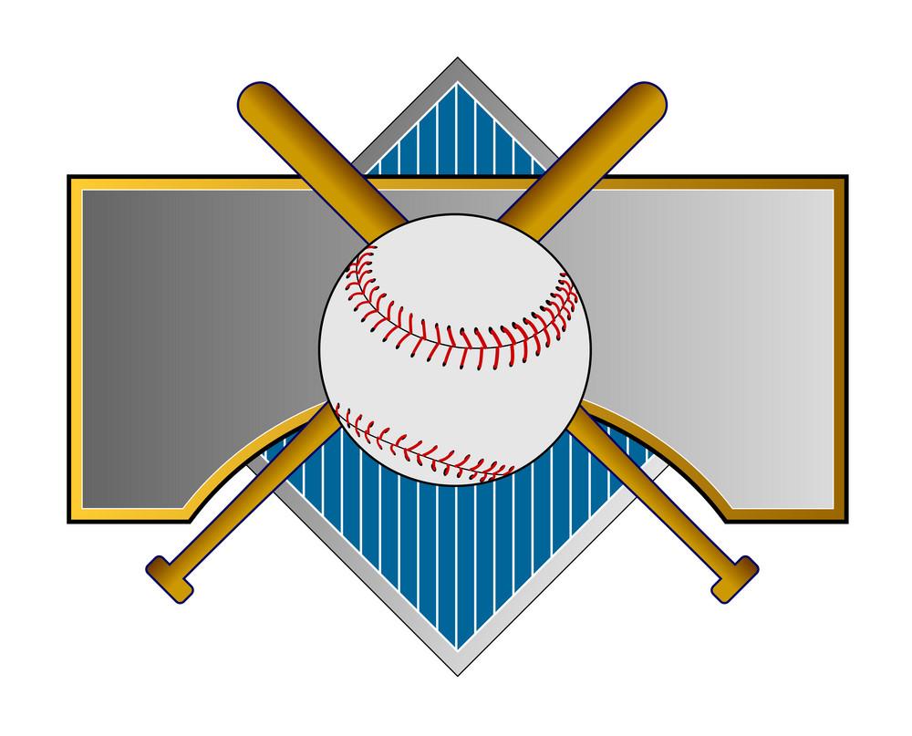 Baseball And Bat On Metal Crest