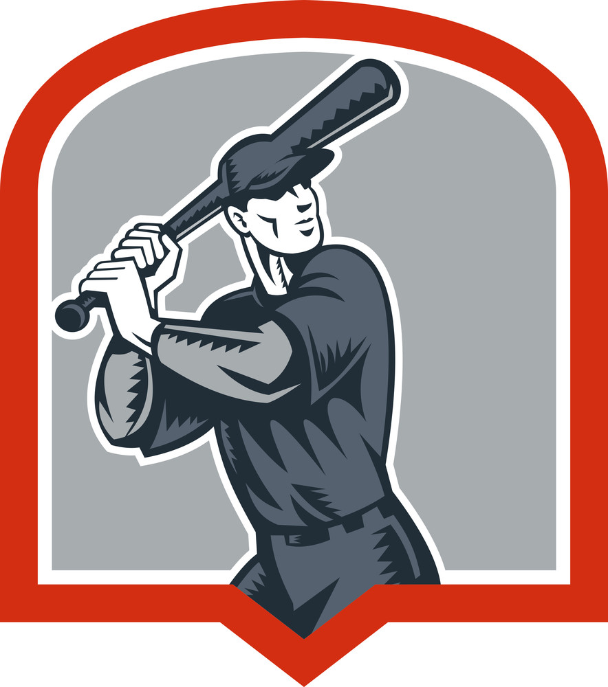 Baseball Batter Batting Woodcut Shield