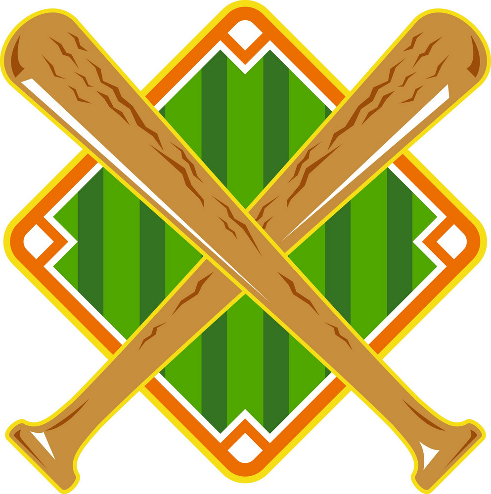 Baseball Diamond Crossed Bat Retro