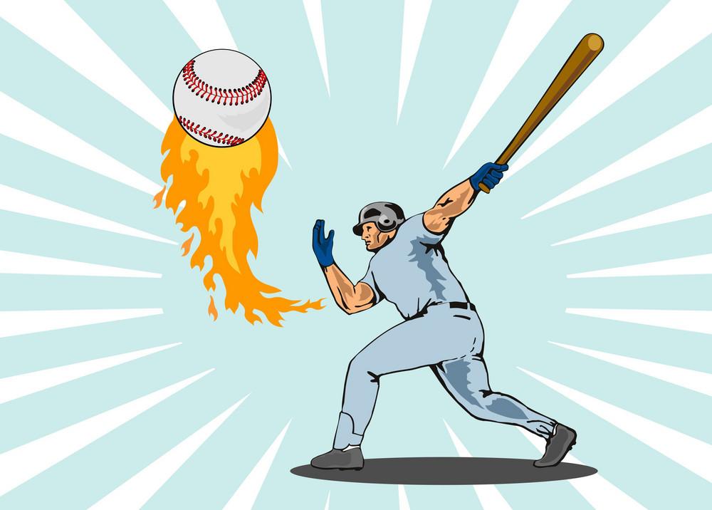 Baseball Player Batting Ball Flames