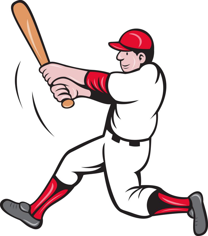 Baseball Player Batting Cartoon Style