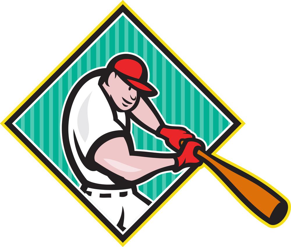 Baseball Player Batting Diamond Cartoon