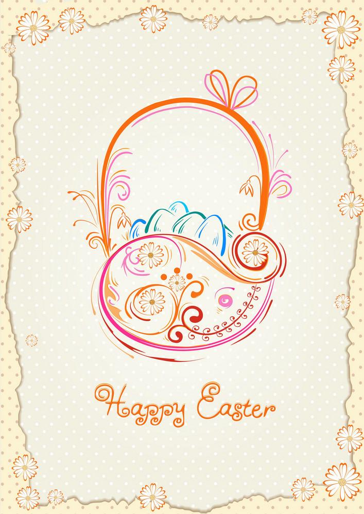 Basket Of Eggs Vector Illustration