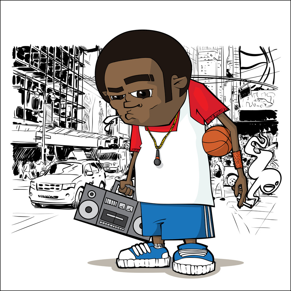 Basketball Character On A City-background. Vector Illustration.