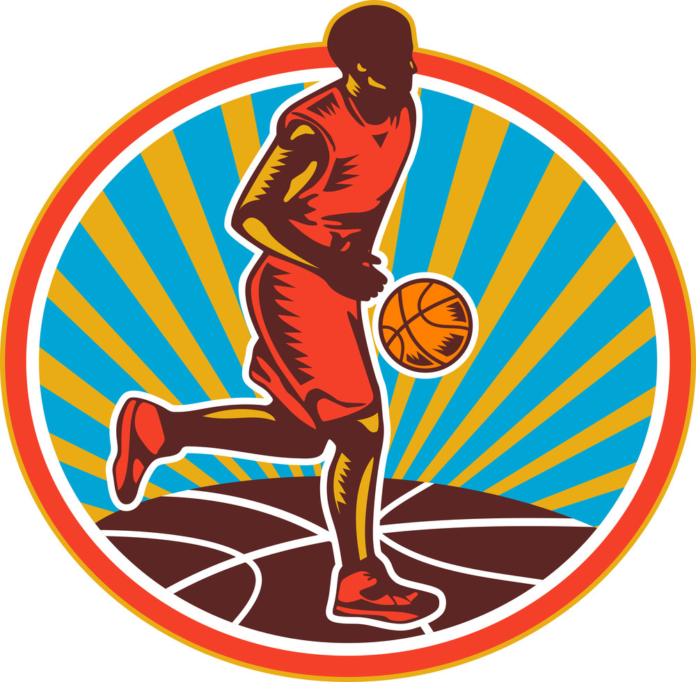 Basketball Player Dribbling Ball Woodcut Retro